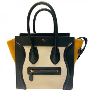 Celine Tri-Colour Canvas & Leather Luggage Tote