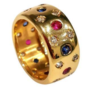 Bespoke Sapphire, Ruby & Diamond Harlequin Ring