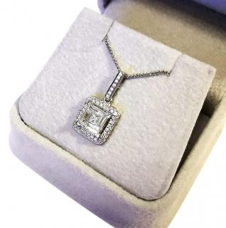 Bespoke Square Diamond Set Pendant Necklace