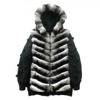 FurrySD Hooded Ranched Chinchilla Fur and Merino Wool jacket/coat