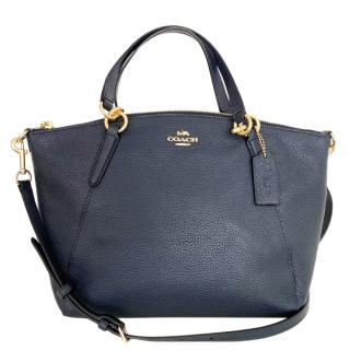 Coach blue leather shoulder tote bag