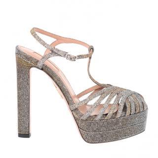 Aquazurra Moonlight silver platform sandals
