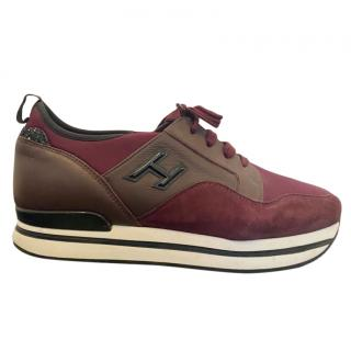 Hogan Burgindy Suede, Leather & Canvas Sneakers