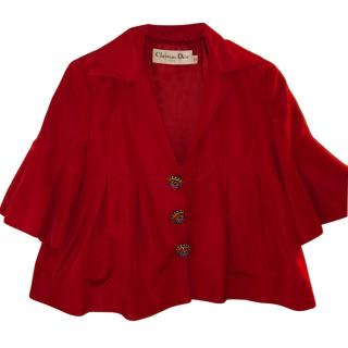Christian Dior Red Embellished Button Waistcoat & Jacket