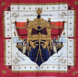 Hermes Vue Du Carrosse La Galere en Reale Silk Scarf 90