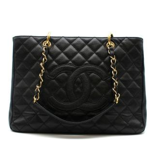 CHANEL Black Leather Grand Shopping Tote (GST) Bag