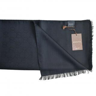Gucci black wool and silk blend scarf