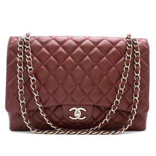 Chanel Burgundy Maxi Classic Flap Bag
