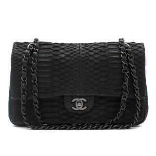 Chanel Black Python Medium Flap Bag