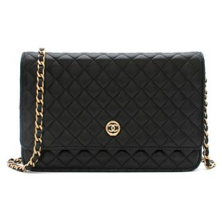 Chanel Black Quilted Leather Wallet On Chain