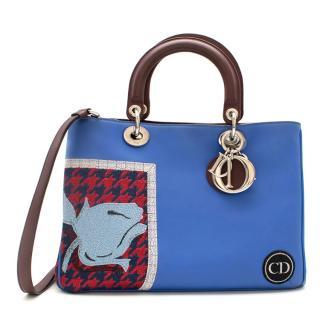 Dior Blue Embroidered Leather Diorissimo Tote Bag