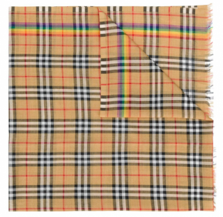 Burberry Rainbow Vintage Check Wool Silk Scarf​