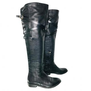Burberry long flat black leather boots