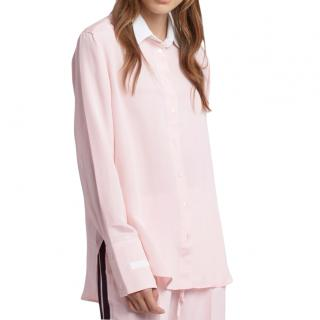 Serena Bute London The Oversize Shirt in Pale Pink & White Silk