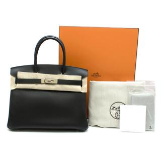 Hermes Noir Jonathan Leather 30cm Birkin - Full Set