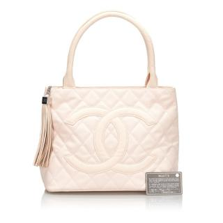 Chanel Leather & Canvas Medallion Tote Bag