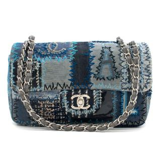 Chanel Blue Denim Patchwork Classic Flap Bag