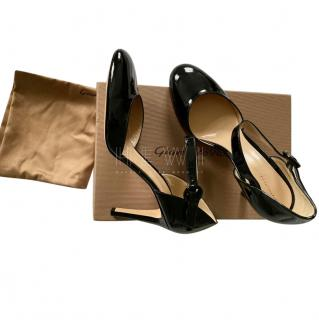 Gianvito Rossi Black Patent Leather Mary-Jane Sandals