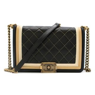 Chanel Black & Gold Medium Boy Bag