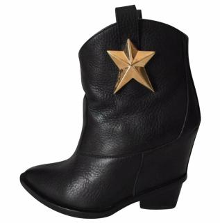Giuseppe Zanotti black leather cowboy star booties