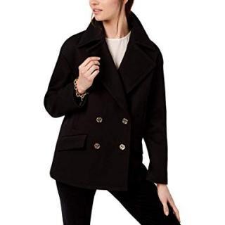 Michael Michael Kors black double breasted short pea coat