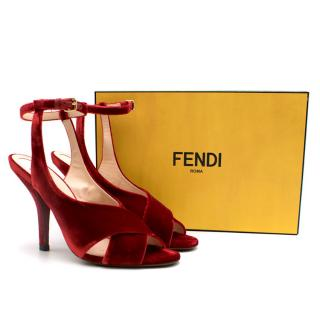 Fendi red velvet heeled ankle strap sandals