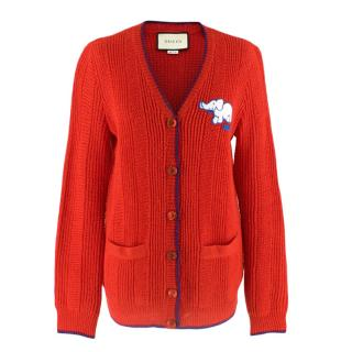 Gucci Red Wool Red Elephant Patch Cardigan