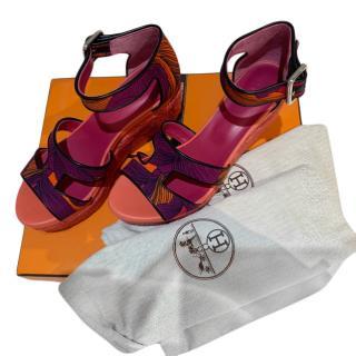 Hermes Orange & Purple H Wedge Sandals