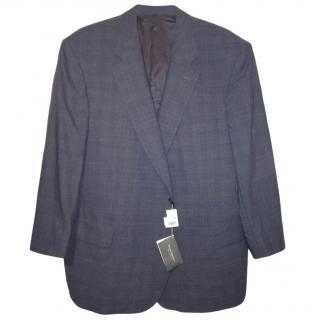 Eduard Dressler Navy Wool Check Blazer