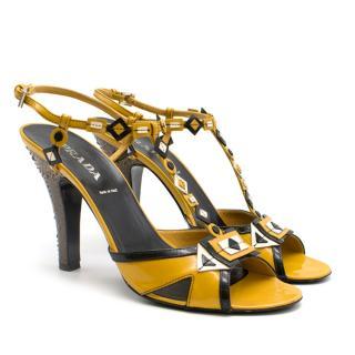Prada mustard yellow patent embellished heel sandals