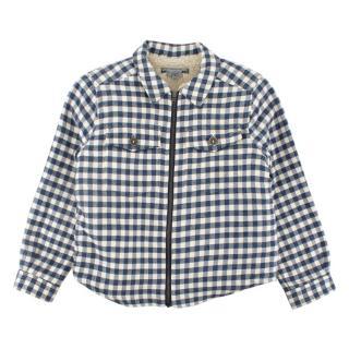 Bonpoint White/Navy Tartan Teddy Lined Kids Jacket