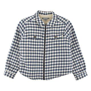 Bonpoint White/Navy Tartan Teddy Lined Kids Jacket