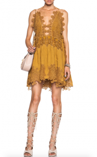 Chloe Peacock Embroidered Tulle Dress in Mustard