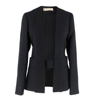 Marni belted black silk & wool open blazer
