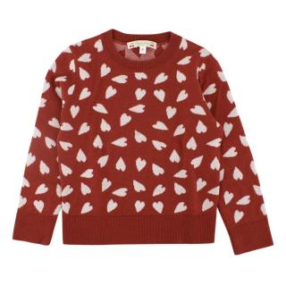 Bonpoint Kid's 4yr Red Heart Sweater