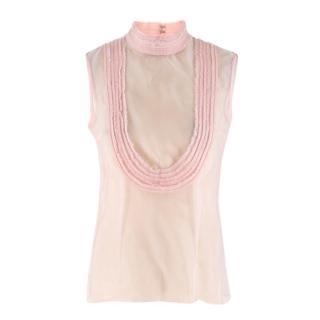 Emilio de la Morena pink silk sleeveless top