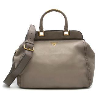 Prada large grey shoulder tote  bag