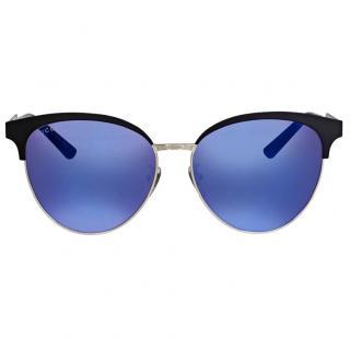 Gucci metallic blue cat eye sunglasses