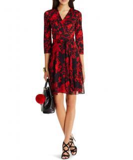 Diane von Furstenberg Irina Silk & Chiffon Combo Wrap Dress