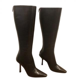 Jimmy Choo Brown Leather Knee Boots