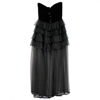 Chanel Vintage Black Velvet Bustier Ruffled Sheer Gown