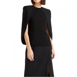 Givenchy Black Cape Effect Stretch Knit Top