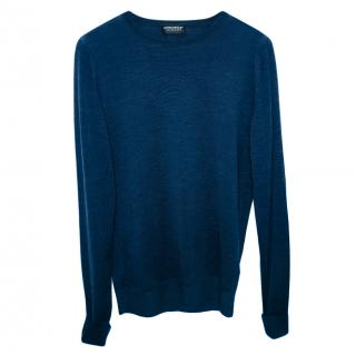 John Smedley navy merino wool jumper