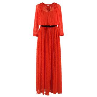 Manoush Belted Red Lace Maxi Dress