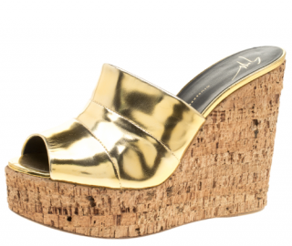 Giuseppe Zanotti Metallic Gold Leather Cork Wedge Slides