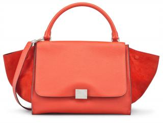 Celine Vermillion Leather & Suede Trapeze Bag