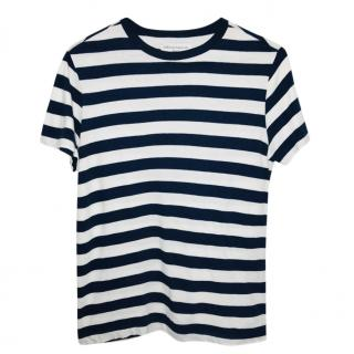 Officine Generale Navy & White Striped T-Shirt