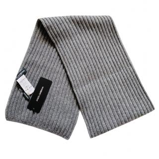 Dolce & Gabbana Men's Grey Ribbed Cashmere Scarf