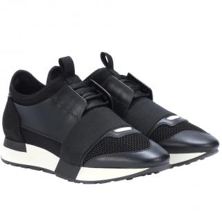Balenciaga Black & White Race Runner Trainers