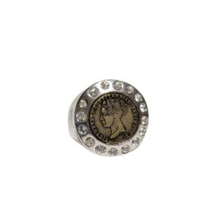 Dyrberg/Kern crystal coin pendant ring